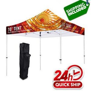 48 Hour Ship Premium 10' Tent Canopy Pop Up Full Color Graphic + Frame Stand Kit ( Dye Sublimation)